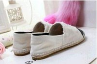 Wholesale Checkered Shoes For Women - Free Shipping Fashion Classic Brand Designer Women Canvas Espadrilles Beige Flats Shoes For Women White Gray Blue 34-41 Size