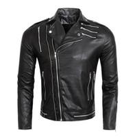 Wholesale Red Leather Jacket Mens Motorcycle Black Coat Side Zipper Slim Fit Short PU Leather Biker Jackets