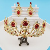 western rhinestone jewelry - Sparkly Princess Queen Red Dimand Jewelry Heart Western Style Crystals with Earring Hair Accessories Gold Headwear Bridal Leaves Crown BM