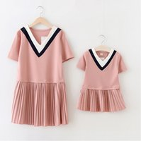 Wholesale new summer family clothing mother daugther dresses draped v neck pink green colors china supplier