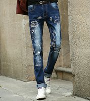 acid clothing - Men s Jeans Fashion Hole Slim Character Small Feet Long Pants Young Men Wear Casual Denim Trousers Teenagers Clothe Outerwear Pencil Pants
