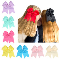 Wholesale Top Selling Style big Size Plain Colored High Quality Grosgrain Ribbon Large Cheerleading Bows with Elastic Hair Ring