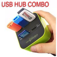 Wholesale High Quality USB COMBO port usb hub HUB multi USB card reader All In One for SD MMC M2 MS with Retail package