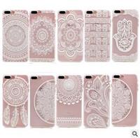Белых слонов Цены-Хенна Белый Цветочный Пейсли Цветочный Мандала Слон Мечта Catcher Жесткий PC Задняя обложка для iPhone 7 6S Plus 5S SE