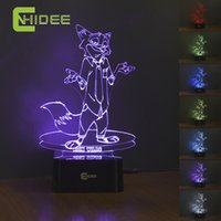 Wholesale USB Novelty Baby Led Night Light Nick Zootopia Cartoon Color Change D Lamp as Home Decor Children Desk Table Lampara Infantil