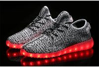 Cheap Yeezy boost 350 knitted jumper wire seven lights shoes USB charging LED coconut lamp glow fluorescent shoes for men and women lovers shoes