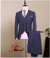 Wholesale 2016 Custom Made Men Navy Blue Formal Wedding Tuxedos Tailored Males Slim Fit Groom Tuxedos For Man Jacket Pants Vest NA10