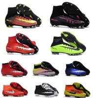 Wholesale 2016 high top Original Quality Mercurial Superfly FG Mens Football Shoes Cleats Cheap Magista Obra Outdoor Superfly v Soccer Shoes Boot