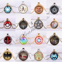 batman jewelry - Vintage Jewelry Superhero Batman Captain America Necklace Tree Of Life Pendant Necklace Harry potter Poke Mon Go Necklace Comet Jewelry M112