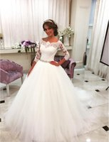 beaded boat neck - Lovely Princess Ball Gown Bride Dresses Three Quarter Sleeves Boat Neck Beaded Lace Wedding Dress robe de bal