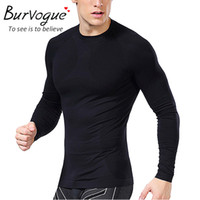 Wholesale Burvogue Long Sleeve Shaper Tops Men Shaper Slimming Sport Shaper Tops Tight Waist Cincher Shaper and Tummy Control Shapewaer