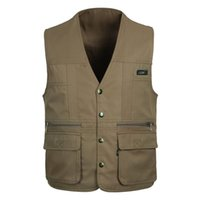 Wholesale New Men s Outdoor Multi pocket Hunting Vest Outdoor Shooting Photography Canvas Vest Waistcoat Photographer