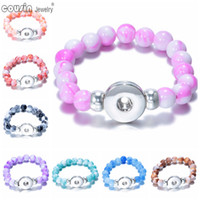 beaded j - 20pcs mm snap button beaded bracelet bangle Mixed color Stone charm bracelet Fit mm snap button Jewelry for women SZ0117a j
