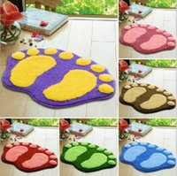 Wholesale New Lovely Cartoon Feet Mat for Bathroom Cute Absorbent Non slip Suede Bathroom Mat XHH05193