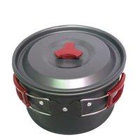 Aluminum aluminium cooking pans - New Arrival Portable Outdoor Non stick Pots Pans Bowls Camping Hiking Cooking Tools Aluminium Alloy Pot Picnic Cookware MA0173 kevinstyle