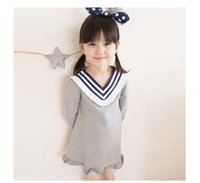 Wholesale 2016 children new children s wear autumn clothes girls falbala v neck long sleeve institute wind dress Preppy Style
