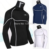 Wholesale New Fitness Men Base Layers T shirts Compression Tights Long sleeved Sportswear Thermal Tops Gym Tees Sports Clothes M XXL