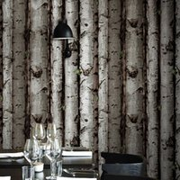 bark wallpaper - Personality Antique Wood Wallpaper Restaurant Hotel Cafe Backdrop Wallpaper Imitation Mahogany Wood Bark Roundwood Wallpaper