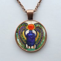 411 - Glass Dome Egyptian Scarab pendant ancient Egypt necklace Egyptian wooden pendant necklace jewelry