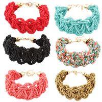 Cheap Vintage Colorful Beads Boho European Style Twist Bracelet Wrist Chain Snowpear C00801 SPDH