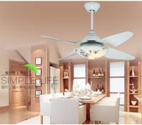 Wholesale Simple Restaurant Fan lamp ceiling fan lights inch LED Fan ceiling lights household remote control living room ceiling fans