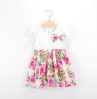 baby wheat - Girls Bow Dresses Soft Children Dressses Baby Kids Summer Clothig Short Sleeved Bowknot Cotton Dress Casual Rural Flower Wheat Dress
