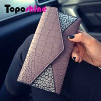 Wholesale Toposhine Hot Fashion Women Wallets Panelled Color Wallet ID Card Holder Coin Purse Pockets Clutch Women Wallets
