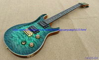 Wholesale New brand electric guitar see thru green quilt flame body top gold parts one piece body and neck