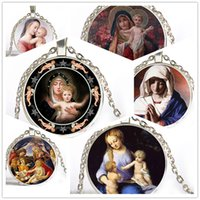 baby jesus christ - 6 Style Virgin Mary Mother of Baby Neckalce Jesus Christ Christian Jewelry Glass Photo Necklace Xmas Gift Fashion Necklaces For Women