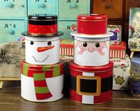 Wholesale Tin box Santa Snowman cake storage box Christmas home decor kitch organization