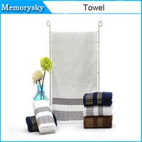 Wholesale New style towels Thicked cotton towel more authentic plain satin back word lines face hand towel