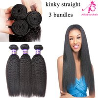 yaki weave hair - 7A Grade Malaysian kinky straight hair bundles coarse yaki human hair extensions light yaki straight hair