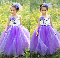 Wholesale Cheap New Cute Princess Purple Tulle Flower Girls Dresses Hand Made Flower Puffy Cheap Little Girl Dresses In Stock MC0194