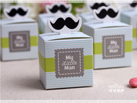 Wholesale 500pcs My little Man Cute Mustache Baby Shower Favors Baby Shower Decoration Birthday Souvenirs Birthday Gift candy Box