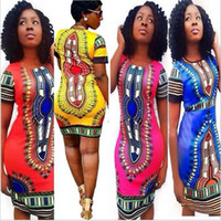 Wholesale Summer Dress Bohemian Fashion Women Traditional Print African Dashiki Bodycon Dress Sexy Short Sleeve Slim Dress Plus Size