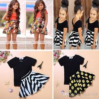 Wholesale Flower Baby Girls Dress Short Sleeve Tops T Shirt Skirt Outfits Set Clothing Kids Toddler Children Striped Leopard Pettiskirt Suits FJ B01