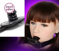 Wholesale Bondage Gear Mouth Bite Penis Gag Female Slave Trainer Ball Gags Black Short Version Adult Sex Toys Products For Lady