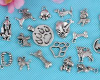 animal print bracelet - Vintage Silver Puppy Dog Paw Prints Charms Pendant For Women Dress Brand Bracelet Necklace Fashion Jewelry Making DIY Accessories A18