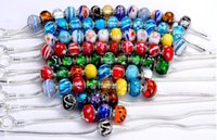 Wholesale Brand New Mix Styles Glass mm beads big hole loose beads fit European pandora jewelry Diy bracelet charms per