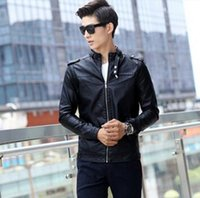Wholesale leather men s spring stand Shore design loose fitting leather jacket outerwear lead singer dress costumes clohting S xl