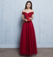 Wholesale Elegant Off Shoulder Wine Red Long Evening Dresses See Through Lace Corset Formal Party Gowns C1004