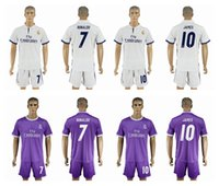 Wholesale 2016 Real Madrid Home WhiteAway Purple Soccer Jerseys RONALDO KROOS JAMES BALE Soccer Sets Men s Soccer Uniforms with Shorts