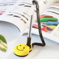 Wholesale 8Pcs mm Desktop Gel Pens Holder Swivel Stand Smile Face Desk Office Front Desk Counter Pen Pasted Signing Pen