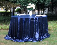 Wholesale 50 Round Navy Round Sequin wedding table cloth or Tablecloths For Wedding party or small tablecloth Many colors available