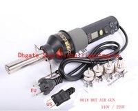 al por mayor solder station hot air-220V 450W Estación de soldadura LCD ajustable electrónica Calor pistola de aire caliente Desoldering IC SMD BGA Rework 4 Boquilla 8018LCD