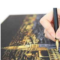 Wholesale DIY Scratch Night View Painting City Golden Fireworks Night Sights Of The World Drawing Toys Style In Stock