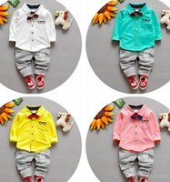 Cheap 2016 utumn of new children's clothing Children Suit Boys Outfit bow tie shirt+ stripe casual pants Boy Suit Toddler Newborn Set Baby Wear
