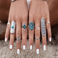 Wholesale Totem Turquoise Gemstone Rings Set Women Lady Bohemian Nine Rings Fashion Party Jewelry Ring Valentine Gift Colors