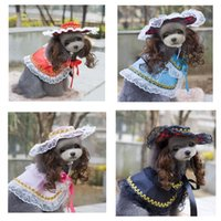 audrey wigs - 10PCS New Lovely Pet Baby Sets Pageant Audrey Princess Dog Elegant Lace Printing Cloak with Queen Cap and Wig Cute Dog Photography Costume