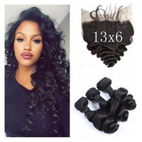 Wholesale Human Hair Bundles With Lace Frontal Closure x6 Free Middle Three Part Natural Black Brazilian Loose Wave